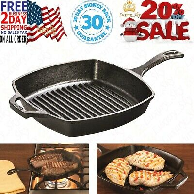 Lodge 10.5 Inch Square Cast Iron Grill Pan. Pre-seasoned Grill Pan with Easy Gr