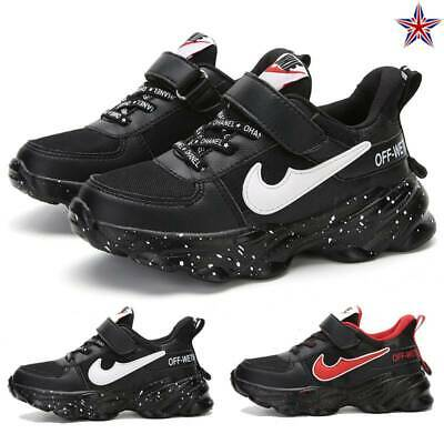 Boys Childrens Black Sports School Trainers Casual Walking Shoes Mesh Size 10-5