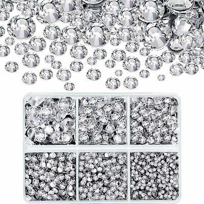 Clear 4000 Pcs Mixed Size Hot Fix Round Crystals Gems Glass Stones Rhinestones