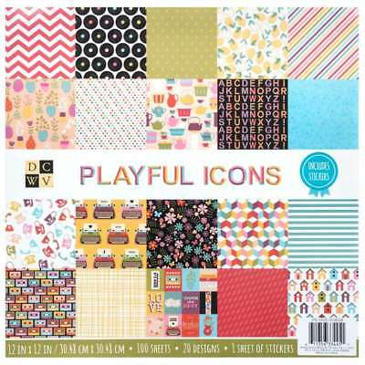 DCWV 12 x 12 Inch 100 Sheets Playful Icons Paper Pad Stacks Cardstock