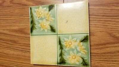 english ART NOUVEAU YELLOW FLOWER WITH GREEN DESIGN 6 INCH ANTIQUE CERAMIC TILE