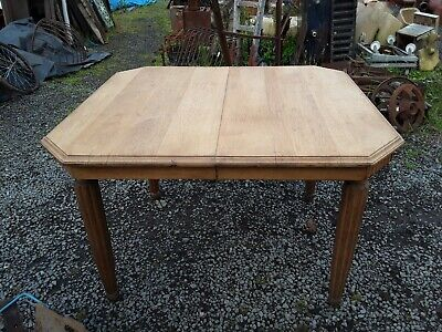 Small Art Deco French Solid Light Oak Extending Dining Table with Spare Leaf