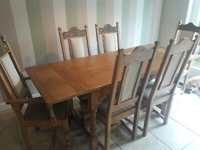 Dining Table, Four Chairs and Two Carvers. Old Charm. Oak. Limited Edition.