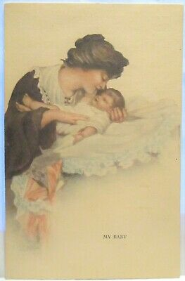 1910 Postcard My Baby, Mother Laying Infant On Blanket