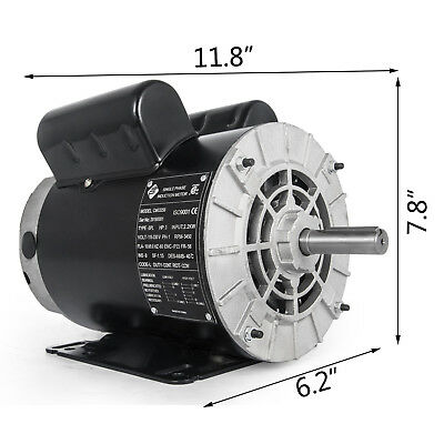 "3HP 1Phase SPL Electric Air Compressor Duty Motor 56 Frame 5/8"" Shaft 3450RPM US"