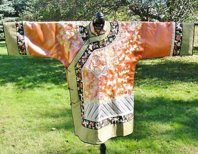 Beautiful Vintage Chinese Embroidered Peach Silk Jacket Robe Butterflies Waves