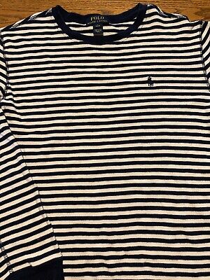 Polo, Ralph Lauren Boys Size Large, 14-16 Navy, White Striped Long Sleeve Shirt