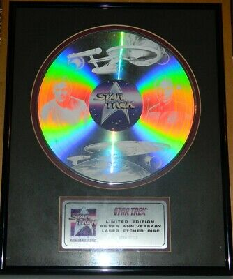 Star Trek 25th Anniversary Ltd Ed Num Laser Etched Disc Framed Matted NEW BOXED