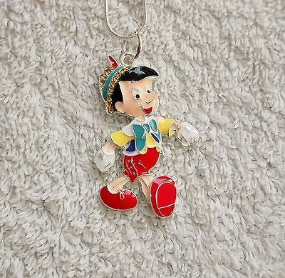 PINOCCHIO Inspired Large Charm NECKLACE With Rhinestones