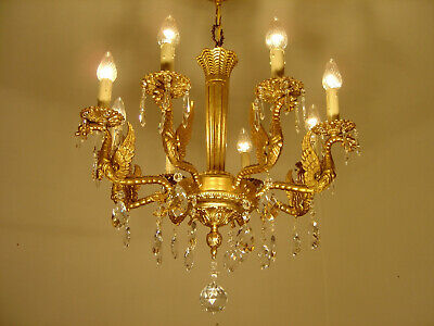 Dangerous Dragon Crystal Chandelier Old Gold Ceiling Lamp 8 Light Used Lustre