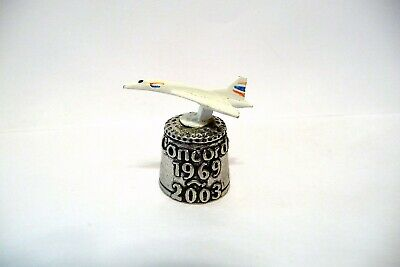 """Thimble Pewter Stephen Frost Handpainted Topper Of The """"Concorde 1969-2003"""""""