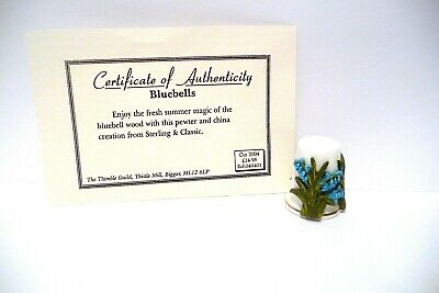 """Thimble Guild 10/04 """"Bluebells"""" H/P Pewter On China Sterling Classic Coa Beauty!"""