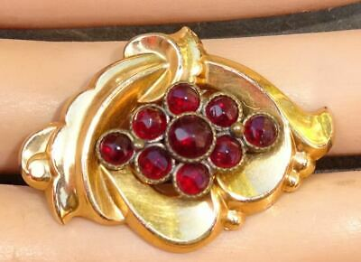 Antique Victorian Era Bohemian Garnet Brooch / Antique Pendant