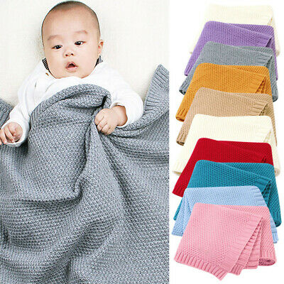 0-3M Infant Baby Solid Knit Swaddle Wrap Stroller Blanket Bedding Quilt Throw PD