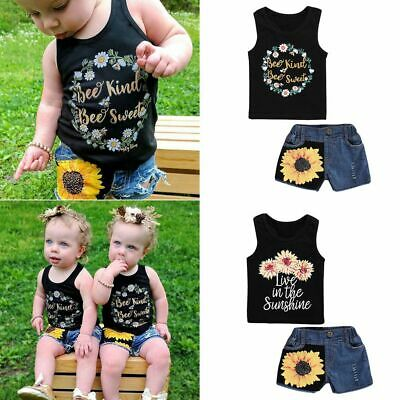 Hot Pants Outfits Kids Baby Jeans Shorts Sunflower T-shirt Tops Girl Clothes