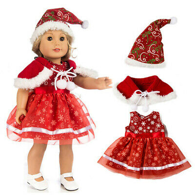 3PC Chirstmas Clothes Dress Hat for 18 Inch Cute Boy Doll Accessory Girl Toy