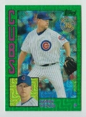 Kerry Wood 2019 TOPPS UPDATE SERIES 1984 CHROME GREEN REFRACTOR /99 CHICAGO CUBS