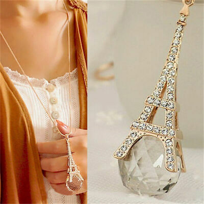 Womens Pendant Long Necklace Paris Eiffel Tower New Transparent Crystal Ball