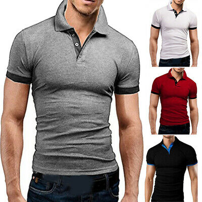 Mens Slim Fit Shirts Solid Short Sleeve Casual Plus Size T-shirt Tee Tops Jersey