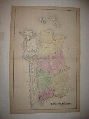 Antique 1873 Long Island City New York Handclr Map Blissville Dutch Kills Queens