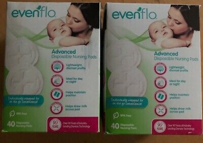 Evenflo Advanced Nursing Pads 40 Count Individually Wrapped White Breathable