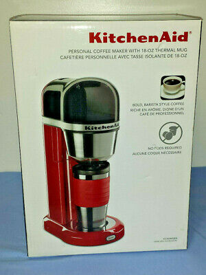 NEW Kitchen Aid Single Serve Personal Coffee Maker + 18oz Thermal Mug Modern Red