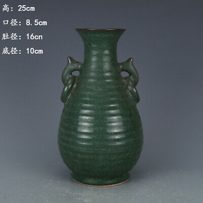 Chinese ancient antique hand make Green glaze Binaural vase a89