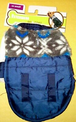 Fletchwear XX Small Blue with snow flakes Dog Coat with hook and loops