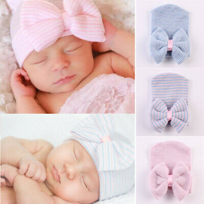 Infant Baby Girls Boys Striped Soft Hat Bow Cap Hospital Newborn Kids Beanie Hat