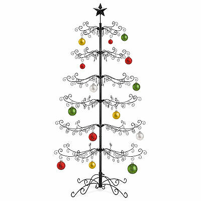 BCP 6ft Wrought Iron Ornament Display Christmas Tree w/ Easy Assembly, Stand