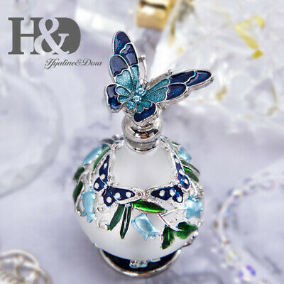 Vintage Magical Refillable Empty Glass Perfume Bottle Blue Butterfly Decor 25ml