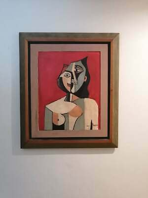 Antique Painting By Pablo Picasso Whit Antique Frame Of Cedar