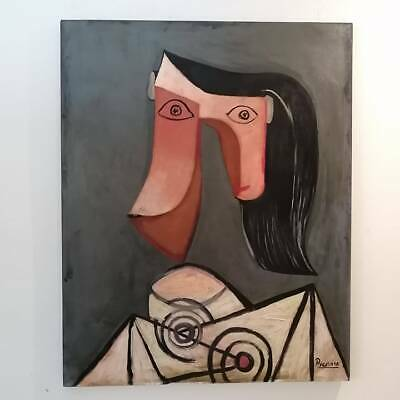 Old Paint Of Pablo Picasso De Herencia In Frame Of Cedar