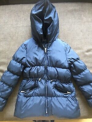 Zara Girls Navy Blue Winter Coat Puffa Jacket Sz 11 12 152cm