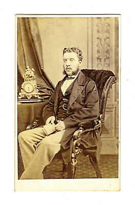 CDV Man w/ Muttonchops Book & Ornate Mantle Clock George Bruce Dunse NB Scotland