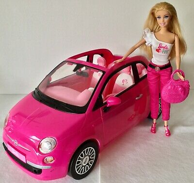 Barbie Pink Fiat 500 Car Plus Doll With Handbag ~ VGC!
