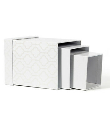 American Crafts DCWV Square Nested Storage Box Set White Foil-Themed Print set