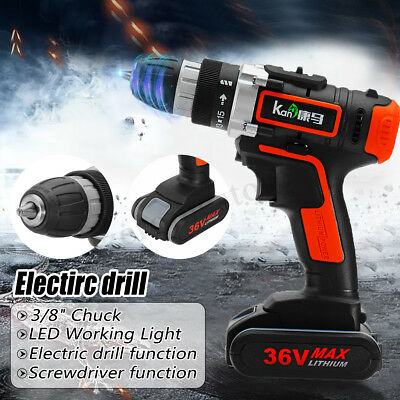 36V 3/8'' Cordless Electric Drill 15+1 Screw Driver W/ Li-Ion Battery & Charger