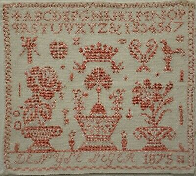 Mid/Late 19Th Century French? Pink Stitch Work Sampler By Denyse Leger - 1875