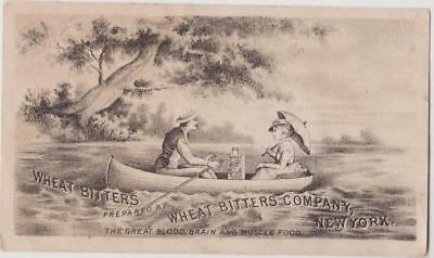 Victorian Trade Card Wheat Bitters Patent Medicine Man Rows Boat Woman & Bottle