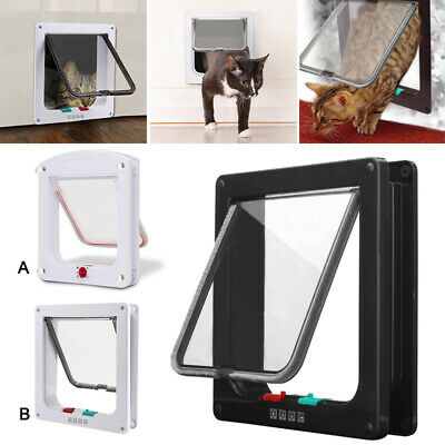 Dog Cat Mate 4 Way Locking Cat Small Dog Flap White Catflap Pet Door S Size