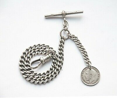 Antique Solid Silver Albert Pocket Watch Chain + 1917 Silver Coin Fob
