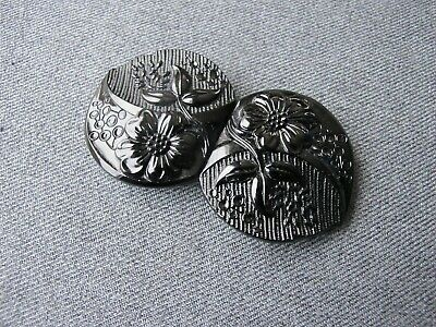 Vintage art deco flapper Czech black glass flowers hearts shaped belt buckle  O