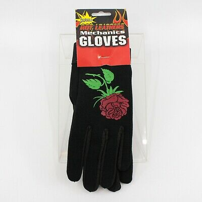 Women's Lady's Mechanic Work Riding Gardening Gloves Hot Leathers Red Roses