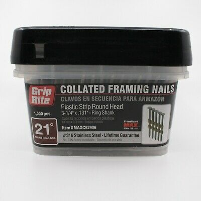 "Grip Rite 21 Deg Collated Framing Nail #316 Stainless 3-1/4""x.131 Ring MAXC62906"