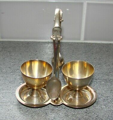 2 EPNS/Plated Egg Cups/Spoons and Stand