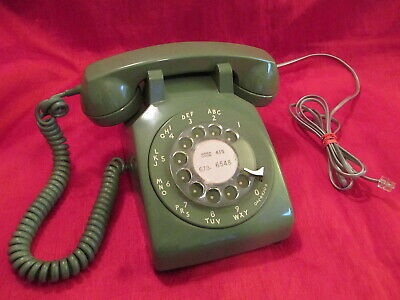 Vintage Western Electric Olive Green Rotary Dial Phone  Clean Nice Works