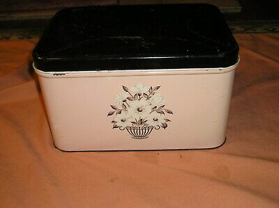 *VINTAGE pink-black 1950's DECOWARE Tin Metal BREAD BOX Hinged Top Floral  RETRO