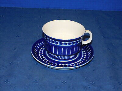 Arabia Finland Valencia Ulla Procope hand painted blue white Footed Cup & Saucer