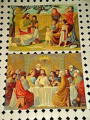 TWO 1950's PAINT BY NUMBER JESUS LAST SUPPER + JESUS BLESSING CHILDREN